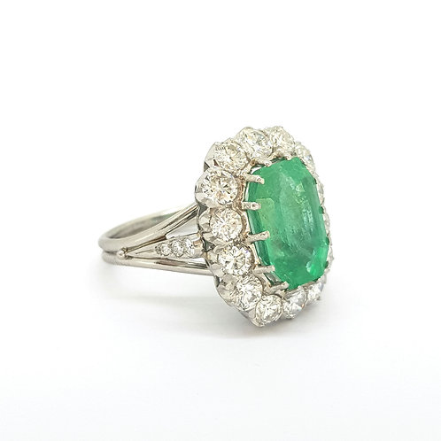 Vintage Emerald and Diamond cluster ring Est E5cts D2.50cts