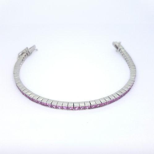 Pink sapphire white gold line bracelet PS5.0CTS 17.7GMS
