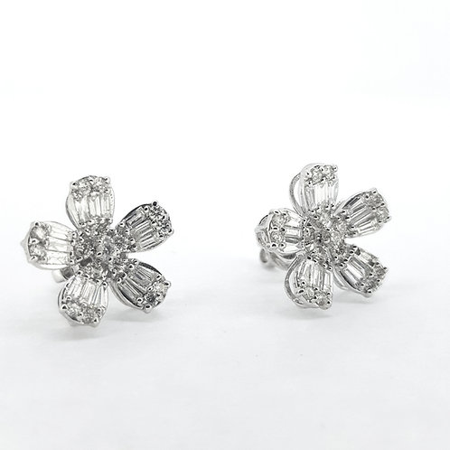 Baguette diamond cluster earrings D1.60Cts
