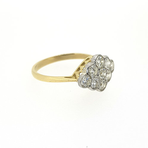 18ct yellow gold and platinum diamond cluster ring.