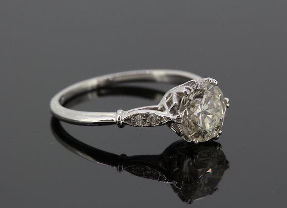 Platinum solitaire diamond ring d1.51cts
