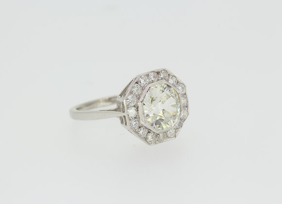 Platinum diamond cluster ring cs1.55cts .55pts