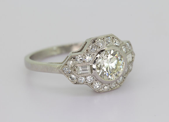 Deco style diamond cluster ring d0.80cts x 0.50cts