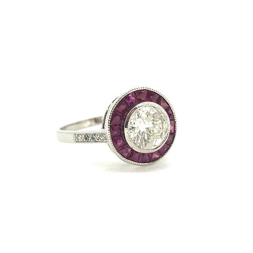 Ruby and diamond target ring D1.06Cts
