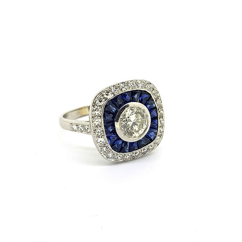 Sapphire and diamond pave set ring CD0.84Cts