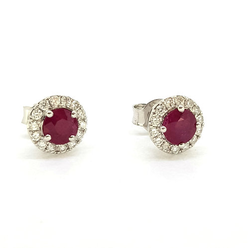 Ruby and diamond cluster studs R0.96Cts D0.25Cts