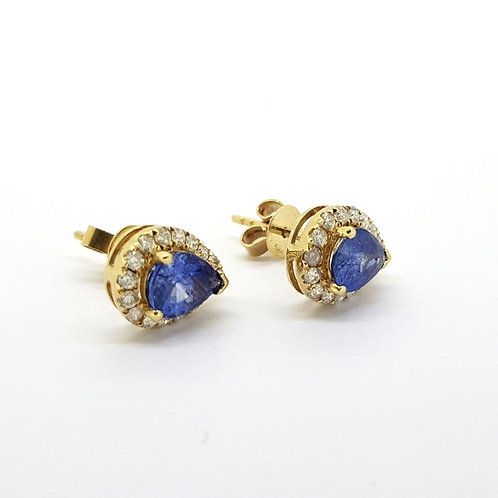 Pear shaped sapphire and diamond cluster studs