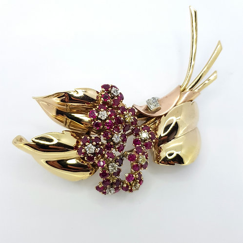 14ct ruby and diamond brooch circa 1940s