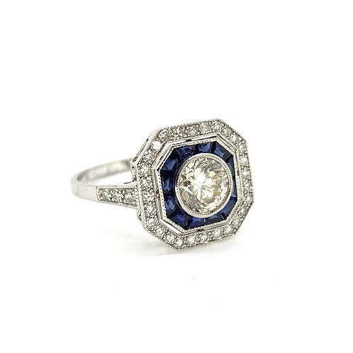 Sapphire and diamond ring Centre 0.80Cts plus mount