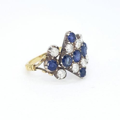 18-carat Victorian sapphire and diamond ring