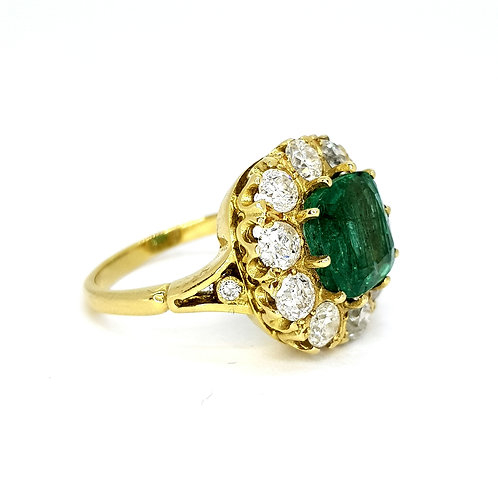 Emerald and diamond cluster ring E3.65CTS D1.75CTS