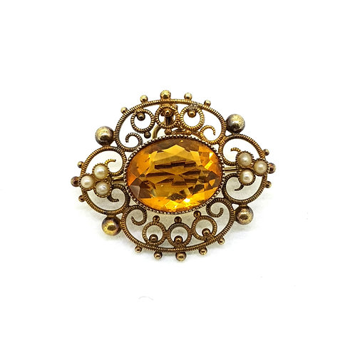 Citrine and pearl pendant/brooch