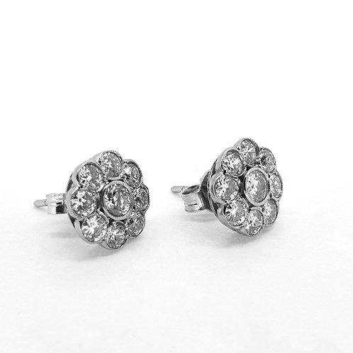 Diamond cluster earrings d150cts