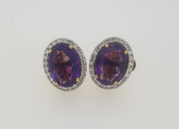 Oval amethyst diamond cluster earrings