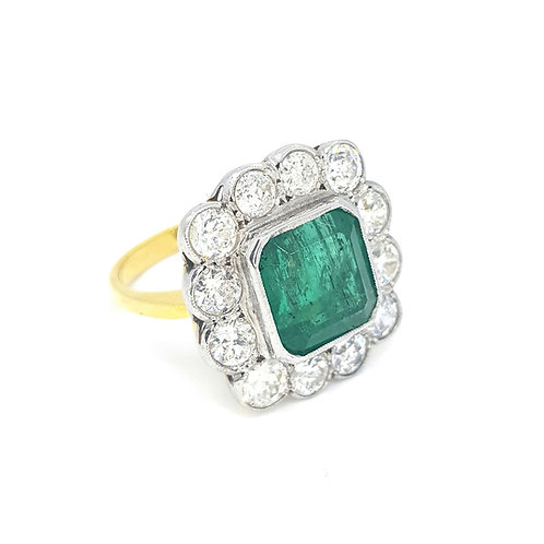 Emerald and Diamond cluster ring E5.50CTS D2.25CTS