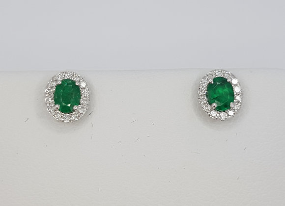 Emerald and diamond cluster earrings ep.35cts d0.12cts