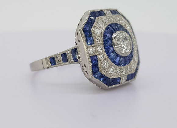 Sapphire and diamond deco style ring platinum