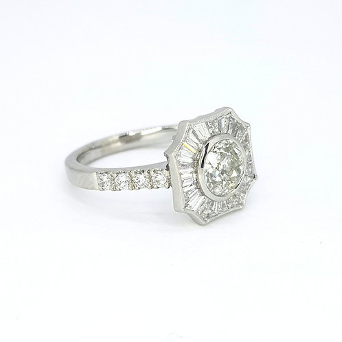 Ballerina ring Old Cut 1.05Cts Tp.0.69Cts
