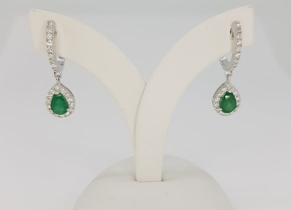 Emerald and diamond drop earrings e0.93cts d0 50cts