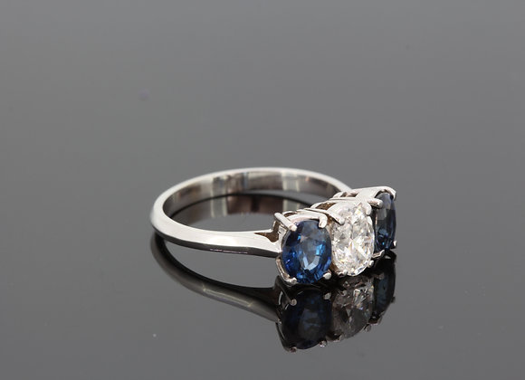 Sapphire and diamond three stone ring s1.75cts est. d.75cts