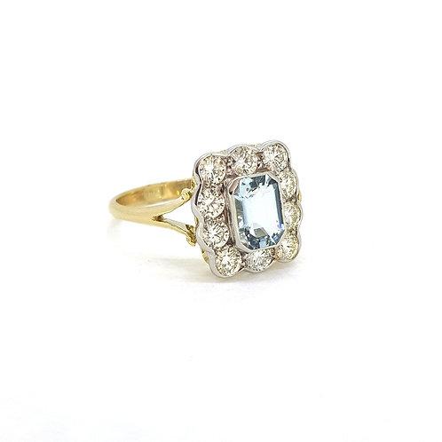 Aquamarine and diamond cluster ring Aq0.75Cts D0.90Cts