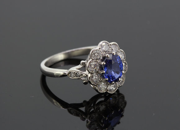 Platinum sapphire and diamond cluster ring.