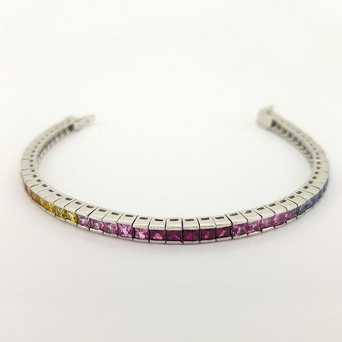 18cm rainbow of sapphires bracelet.