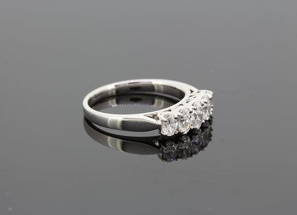 Platinum five stone diamond ring d1.0cts