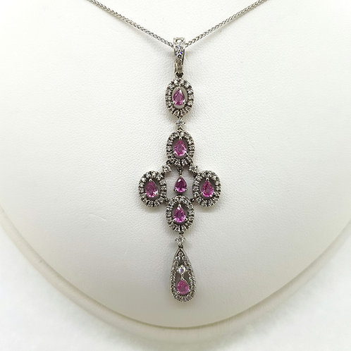 Pink Sapphire and diamond pendant PS3.0Cts D1.50Cts