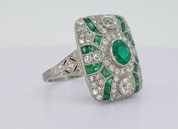 Emerald and diamond cluster deco style ring tdw1.56cts