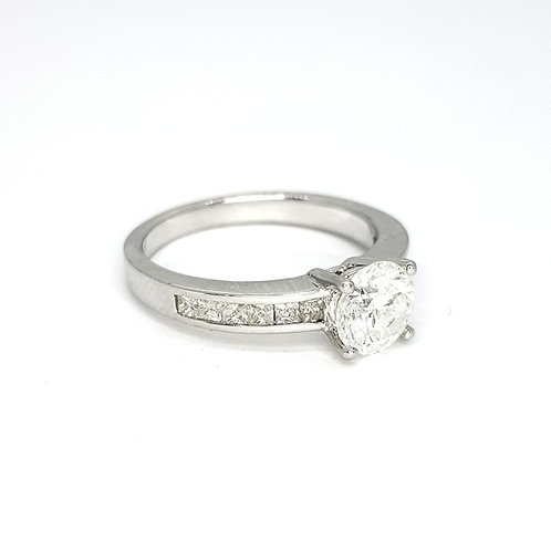 Solitaire diamond channel set ring D1.07CTS