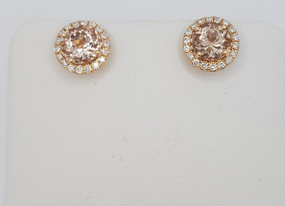 Morganite and diamond cluster earrings mg1.50cts d0.23cts