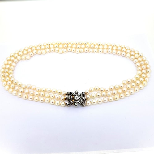 Akoya Pearl's and est.4.0Cts Old cut diamond Clasp