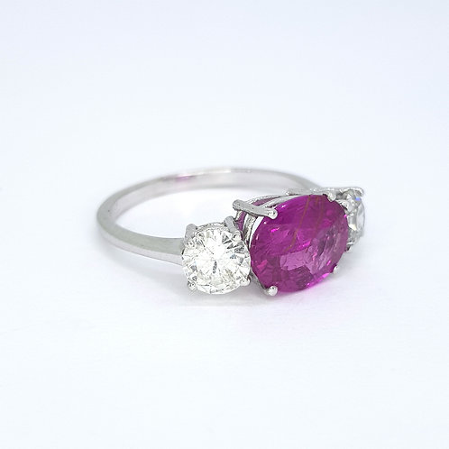 Pink  sapphire and diamond three stone R2.30CTS D0.97CTS