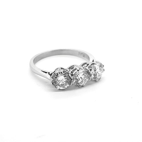 Three stone diamond ring platinum TDW1.63Cts
