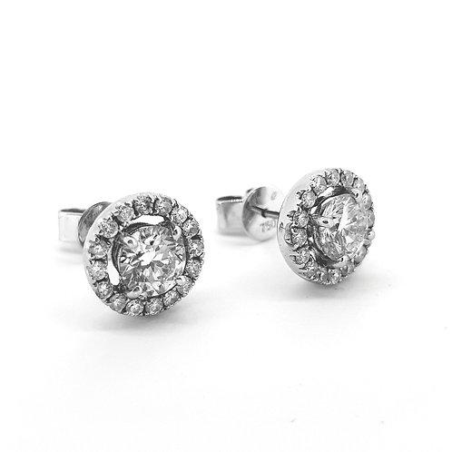 Diamond halo earrings 1.64Cts x 0.52Cts