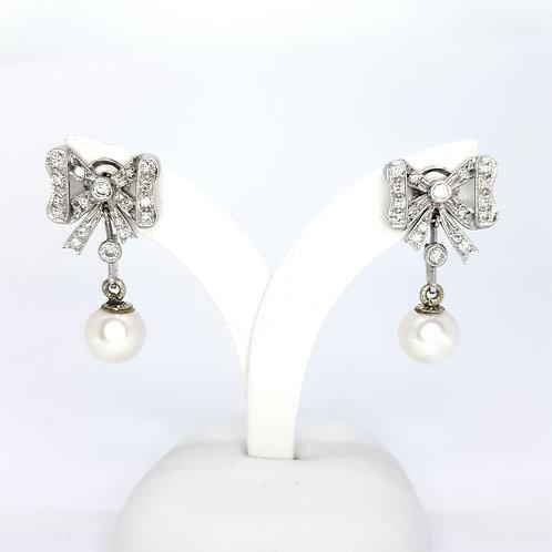 Pearl and diamond art deco diamond earrings