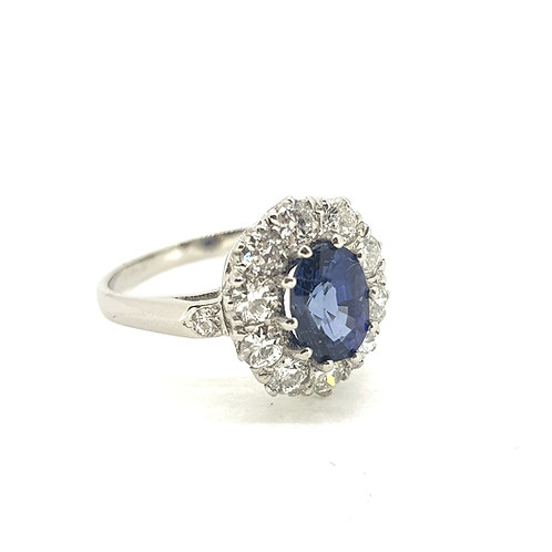 Sapphire and diamond cluster ring S1.50Cts D0.90Cts