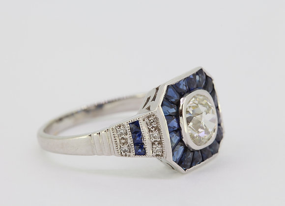 Sapphire and diamond calibre set ring d1.20cts
