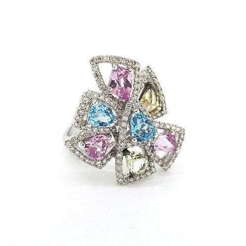 An abstract Topaz and Diamond ring.