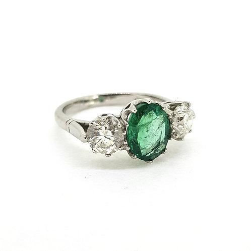 Emerald and diamond three stone Em1.70Cts D1.40Cts platinum