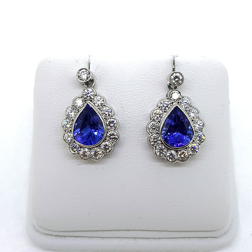 Tanzanite and diamond cluster earrings TZ3 10Cts D1.60Cts