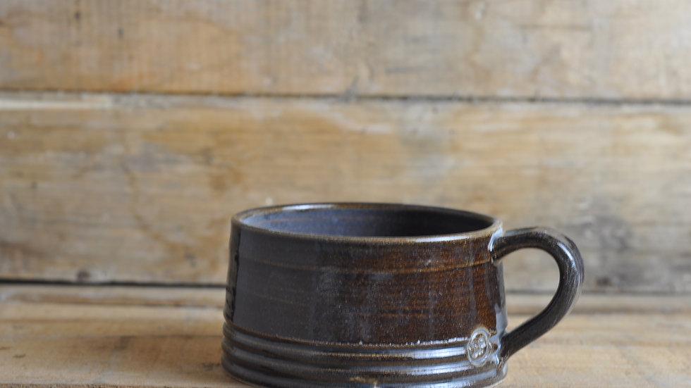 Brown/Blue ' Fat White' Mug