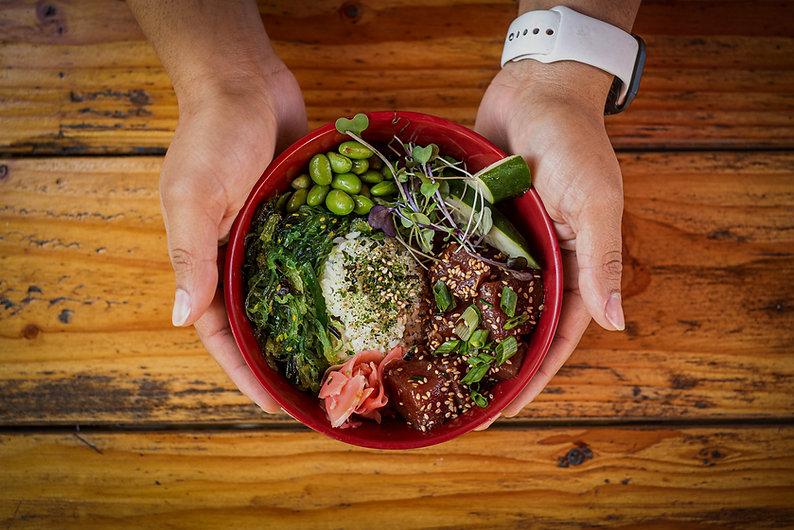 pono poke bowl ho'omana rice furukaki seaweed edamame san jose ginger ono grindz hawaiian