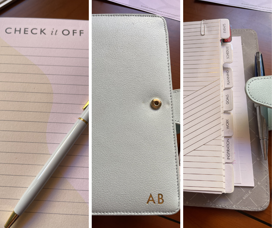 Left image stationary from Martha Brook, middle image personalised planner outer, last image planner inner from Kikki.k