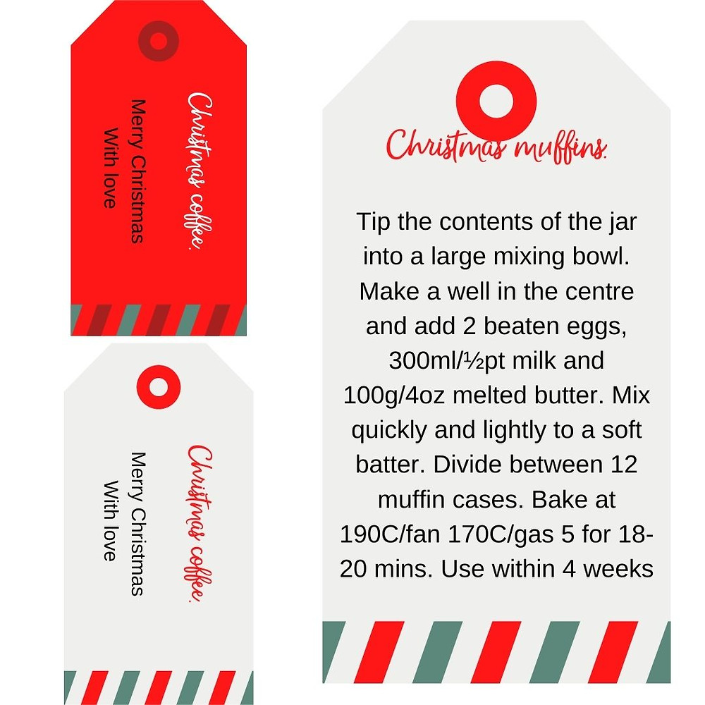 Preview of Christmas printable labels for Christmas muffins and Christmas coffee