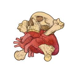 crossbones skull heart