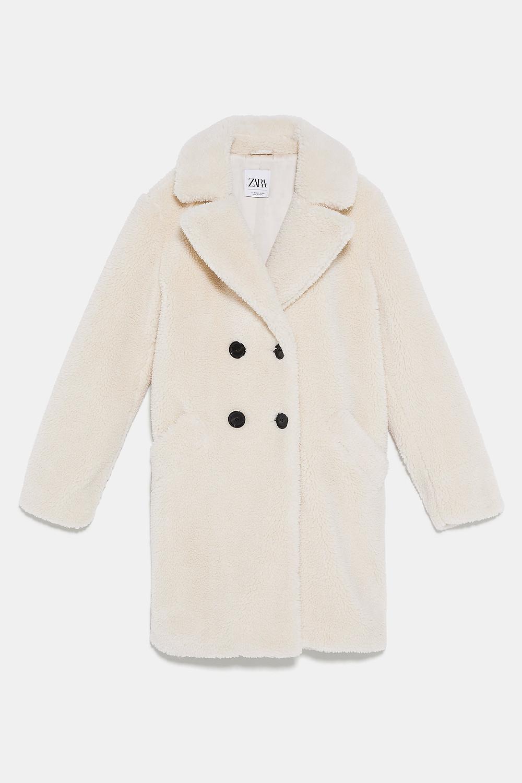 Teddy coat long blanc