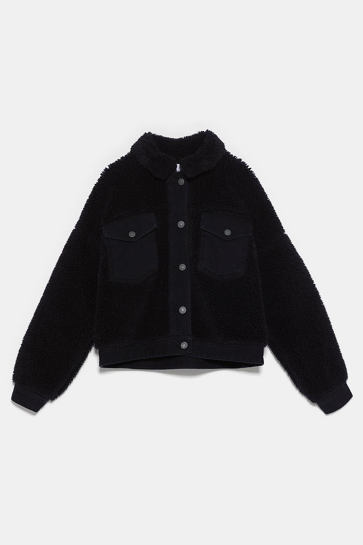 Manteau mouton jeans noir