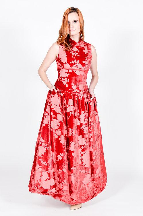Floral Devore Velvet Evening Gown